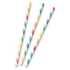 Amscan Papírová brčka s proužky základní barvy, 12 ks