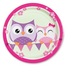 Papírové talířky Happy Owl - průměr 23 cm, 8 ks