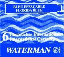 Inkoustové bombičkyWATERMAN  krátké modré omyvatelné, 6 ks