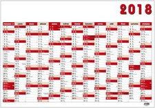 Nástěnný roční kalendář 2018 - červený