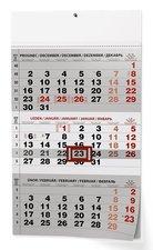 Nástěnný kalendář 2019 - Tříměsíční pracovní, černý