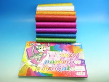 Blok barevných papírů  8 ks, BROKÁT  A4
