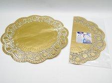 Krajka 65466 dekorativní kulatá 36cm, zlatá/ 4ks/