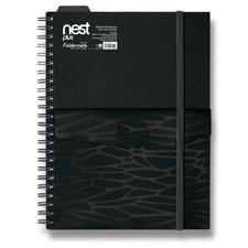 FolderMate Spirálový blok s kapsou Nest - A5,80 listů, linkovaný, černý