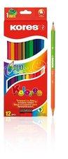 Trojhranné oboustranné pastelky 3mm, s ořezávátkem / 12 ks v krabičce / vč. 2 metal. barev