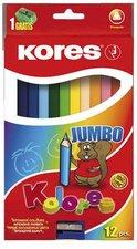 Jumbo trojhranné pastelky 5mm, s jumbo ořezávátkem / 12 ks v krabičce
