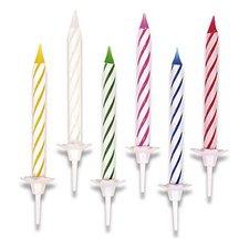 Dortové svíčky - pruhované, 24 ks + 12 stojánků