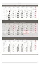 Helma Nástěnný kalendář 2018 Tříměsíční šedý N204
