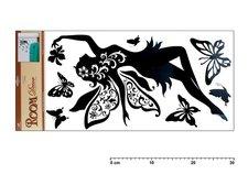 Samolepící dekorace 1041 černá s letící vílou 69x30cm
