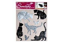 MFP Samolepící dekorace 10228 kočky se stříbrným dekorem 38x31 cm