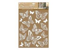 Samolepicí dekorace 10227 bílí motýli s glitry 41x28 cm