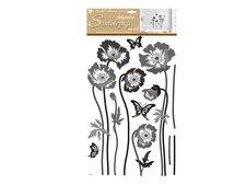 MFP Samolepicí dekorace 10230 černošedé květiny 60x32 cm