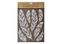 MFP Samolepky 10280 na zeď bílá pírka s glitry 35 x 27 cm
