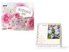 MFP Kalendář 2021 stolní mini Květiny