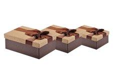 Krabice set 3ks s mašlí vínová+béžová