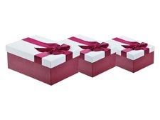 Krabice set 3ks s mašlí vínová+smetanová