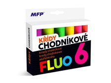 Křídy M chodníkové fluo kulaté 6ks mix barev - krabička