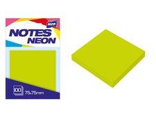 Bloček samolepící 75x75mm 100 listů zelený neon