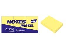 Bloček samolepící 38x51mm 3x100 listů žlutý pastelový
