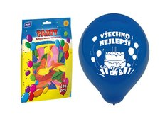 Balónek nafukovací M standard 23cm Všechno nejlepší mix