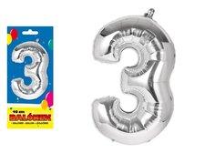 Balónek č. 3 nafukovací fóliový 40 cm