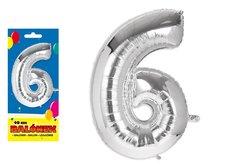 Balónek č. 6 nafukovací fóliový 40 cm