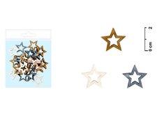 Dekorace hvězda 24ks 2cm mix