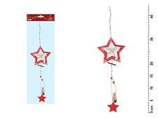 Hvězda závěs červená 44x12cm JK-6067A