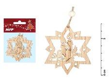 Hvězda dřevěná set 2ks 7cm ZC171276
