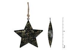Hvězda závěs plech černý 8,5cm