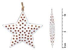 Hvězda závěs plech bílý hvědičky 12cm