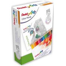 Kreativní set 24ks pastelek + antistresové omalovánky Pentel