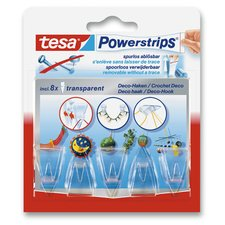 Lepicí háčky Tesa Powerstrips - průhledné, 5 ks