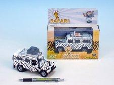 Auto Land Rover safari kov 14cm na baterie 3xLR41 na zpětné natažení se světlem