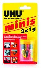 Vteřinové lepidlo UHU Super Glue Mini, sada 3 x 1 g