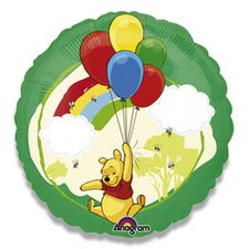 Fóliový party balónek kulatý - Medvídek Pú