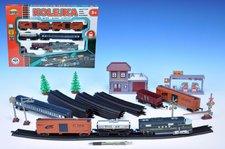 Vlak + 5 vagónů + doplňky délka dráhy 403cm na baterie se světlem