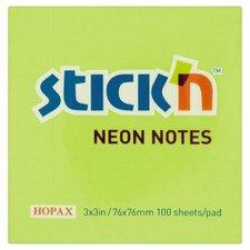 Samolepicí bloček Hopax Neon - 76 × 76 mm, zelený