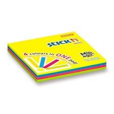 Samolepicí bloček Hopax Magic Pads - 76 x 76 mm, 4 x 100 listů, neonový