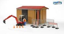 Bruder - Garáž, stavební stroj, figurka s příslušenstvím