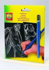 Vyškrabávací obr. s perem - kůň, pes (ČB)