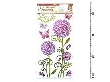 Samolepící dekorace 1387 hortenzie fialkové s glitrem, 69x32 cm