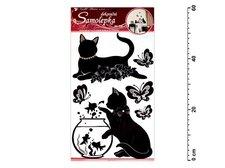 Samolepící dekorace 10063 černé kočky s akváriem 60x32cm