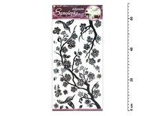 Samolepící dekorace 10034 černá větvička s glitry a kamínky 69x32cm