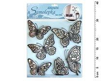 Samolepící dekorace 10045 motýli s pohyblivými krajkovými černými křídly 39x30cm