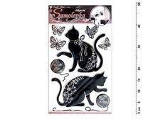 Samolepící dekorace 10082 kočky se stříbrnou konturou a kamínky 49x29cm
