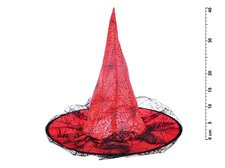 Klobouk čarodějnický M04 červený 40 x 36 cm