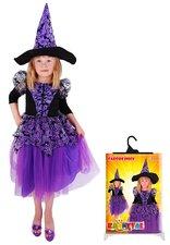 Karnevalový kostým Čarodějnice fialová s rukávy, vel. M