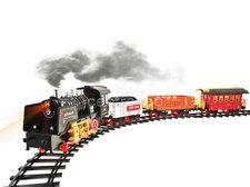 Velká vláčkodráha s nádražím a kouřící lokomotivou R/C