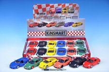 Mikro Trading Auto Kinsmart Porsche kov matný lak 12cm na zpětné natažení asst 3 druhy 2 barvy